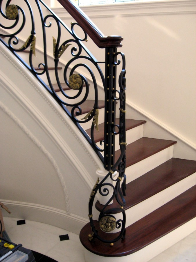 Wrought Iron Custom Railing With Bronze Medallions Balls