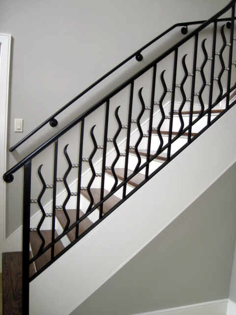 Ornamental Iron Railings With Wavy Pickets And Balls