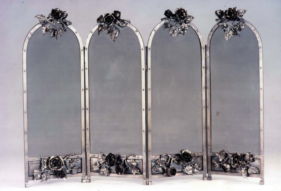 iron pin black single design wrought with panel screen flowing fireplace leaf