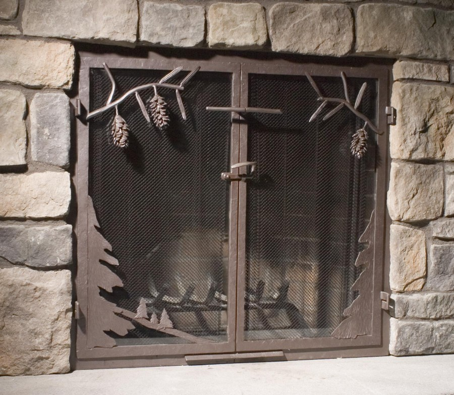 Mesh door fireplace screens - Custom Wrought Iron Fireplace Screens, Fireplace Surrounds And